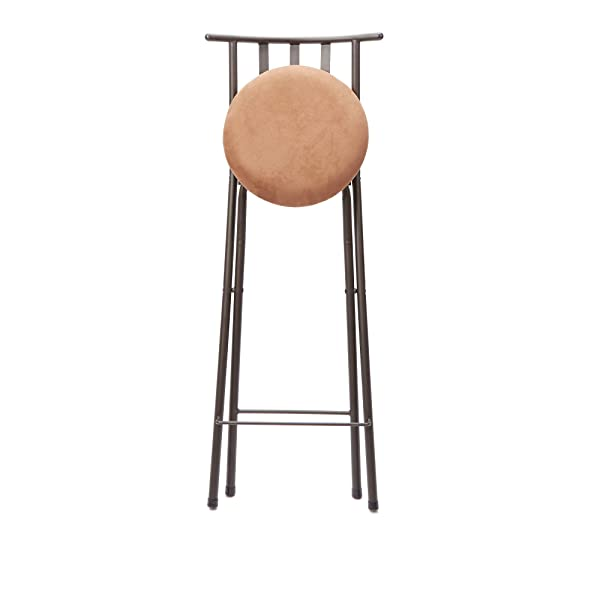 """Mainstays Slat Back Folding 30"""" Bronze Barstool with dark bronze metal finish and plush microfiber cushion makes for a seamless integration into a wide-range of decor, Beige (1)"""