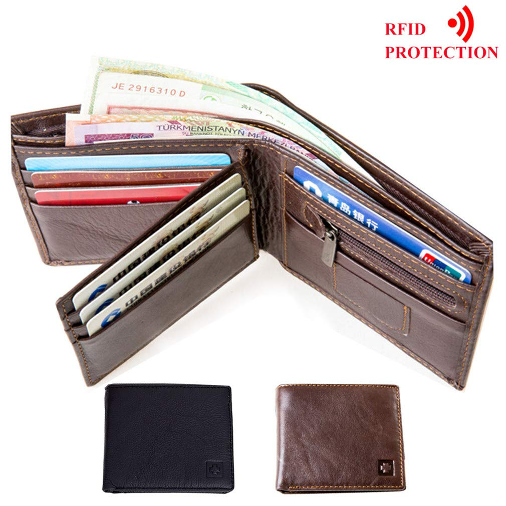 Mens RFID Blocking Wallet Fashion Cow Leather Purse Identity Protection Male Wallets at Amazon Mens Clothing store: