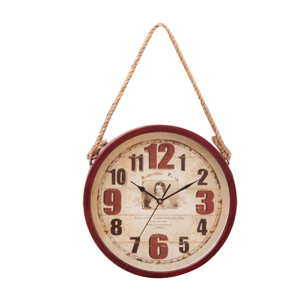 オールドレトロウォールクロック、パーソナリティアメリカンスタイルミュート吊り時計麻ロープ、居間/寝室/オフィス/カフェ/バー装飾ヴィンテージ産業スタイルの壁の装飾時計(30 * 54センチメートル) (色 : 赤) B07D2F17R4 赤 赤