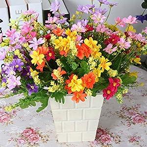 WskLinft 1 Bouquet 28 Heads Artificial Fake Daisy Flower Home Coffee Shop Wedding Decor - Orange 43