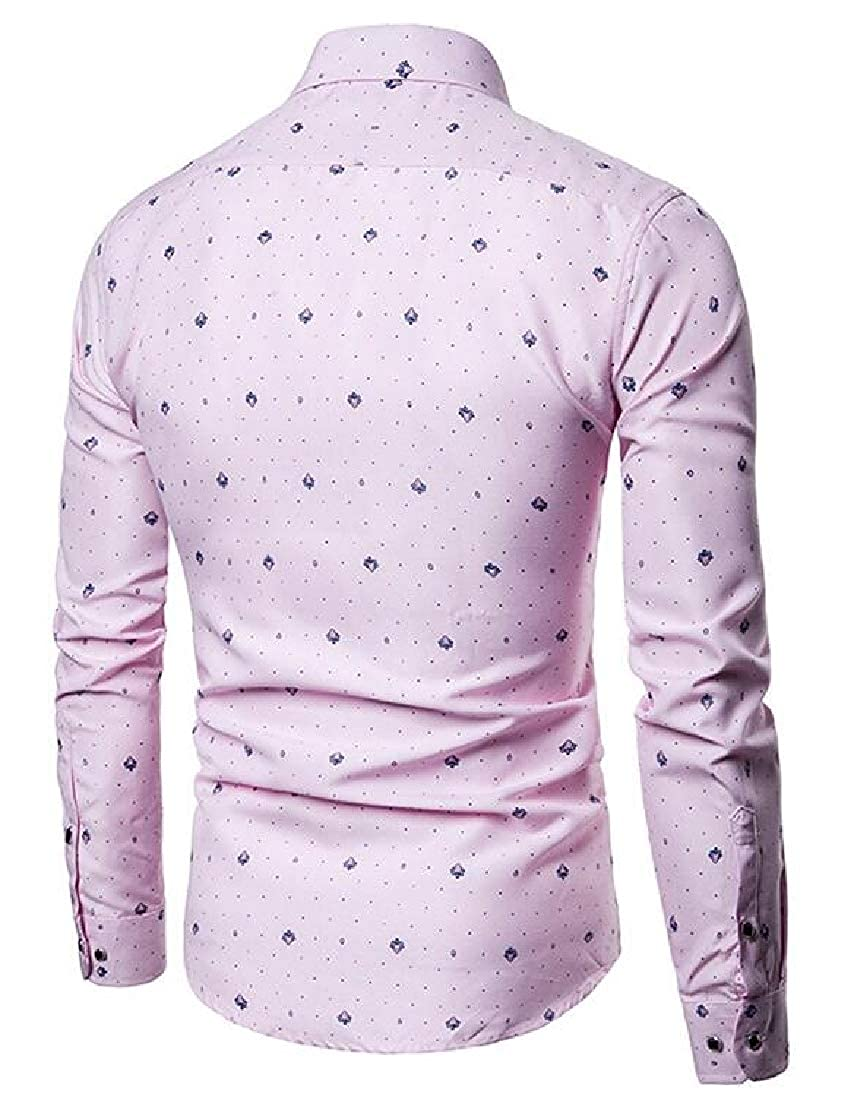 Fubotevic Mens Slim Long Sleeve Lapel Printed Casual Business Button Down Dress Shirt