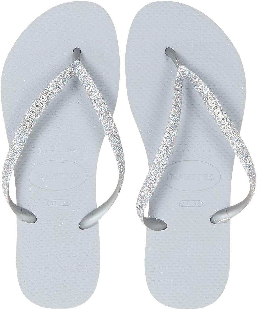 Havaianas Slim Glitter women's silver flip flops <br />