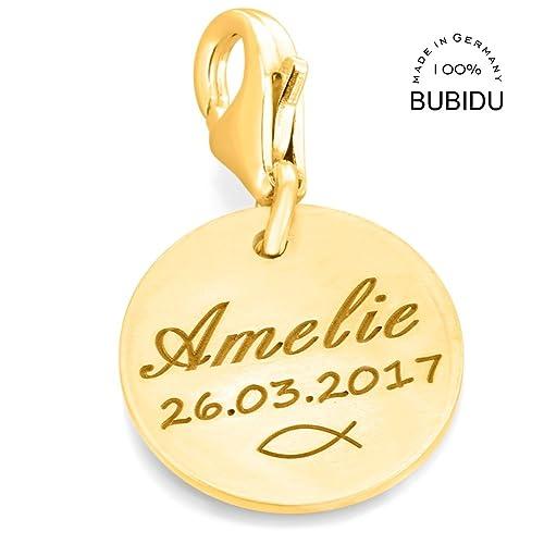 100% hohe Qualität erstklassiges echtes extrem einzigartig Charms Anhänger 925 Silber gold mit Gravur ...