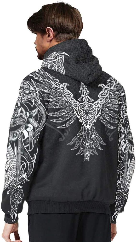 O3XEQ-8 Mann Reißverschluss Warm Vlies Hoody Teen Viking Odin Thema Mit Känguru-Tasche - Reißverschluss Slim Jacke white