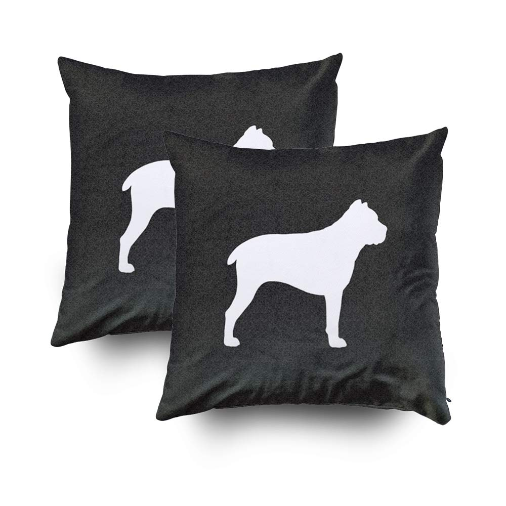TOMWISH 2 Packs Hidden Zippered Pillowcase Cane Corso Silhouette 20X20Inch,Decorative Throw Custom Cotton Pillow Case Cushion Cover for Home