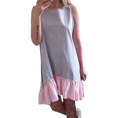 Été Robe pour Femme - Mode Col Rond Couleur Pure Loose Fit Tunique à Volants Elégante Sans Manches Casual Parti Robe Streetwear Plus la Taille