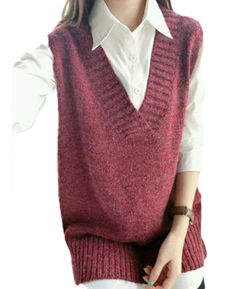 King Ma Womens Casual Sleeveless Pure Color Loose V Neckline Knit Waistcoat (Burgundy)