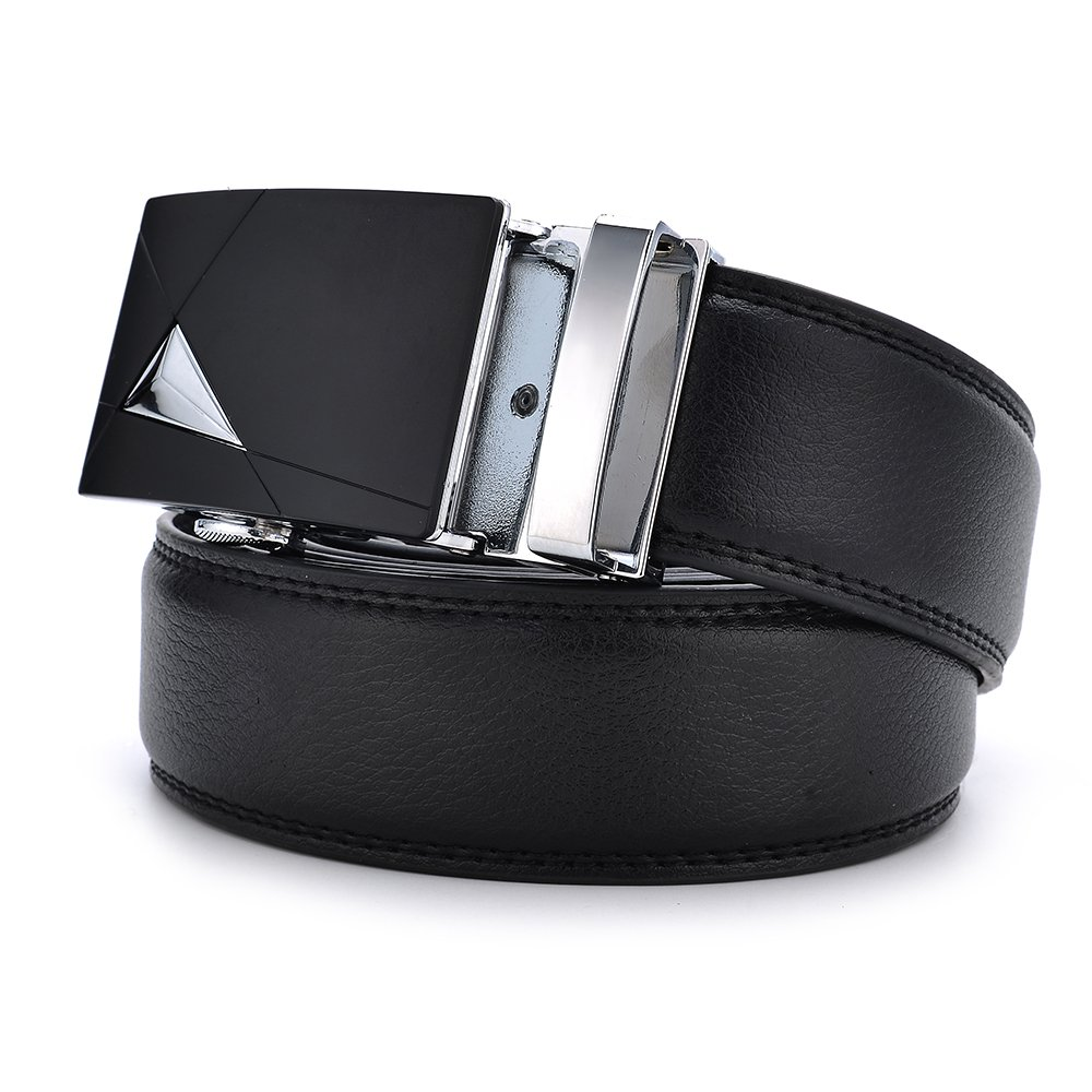 30-55 Waist, Black 04 Men/'s Genuine Leather Belt with Automatic Ratchet Buckle All size Available