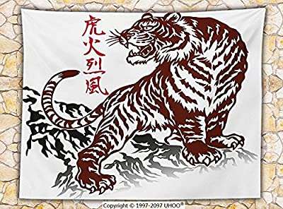 Tattoo Decor Fleece Throw Blanket Wild Chinese Tiger with Stripes and Roaring while its Paws on the Rock Throw Maroon and White