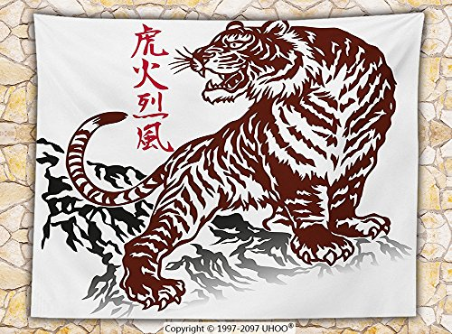 Tattoo Decor Fleece Throw Blanket Wild Chinese Tiger with Stripes and Roaring while its Paws on the Rock Throw Maroon and White (Chinese Blanket Chest)