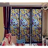 Emoyi Flower Stained Glass Window Film Premium No-Glue Static Decorative Window Films 17.7''X79''