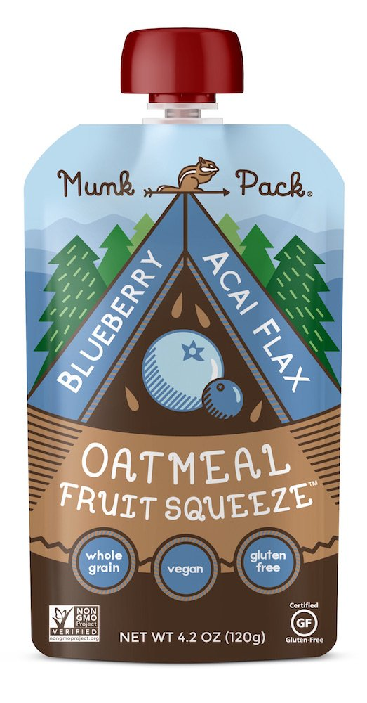 Munk Pack Oatmeal Fruit Squeeze | Blueberry Acai Flax, Ready-to-Eat Oatmeal On The Go, 4.2 oz, 6 Pack