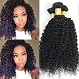 Black Rose Hair Products Brazilian Curly Virgin Hair Weave 3 Bundles Unprocessed Human Hair Extensions Natural Color Can Be Dyed and Bleached Tangle Free (8 10 12inches,Total 150g)