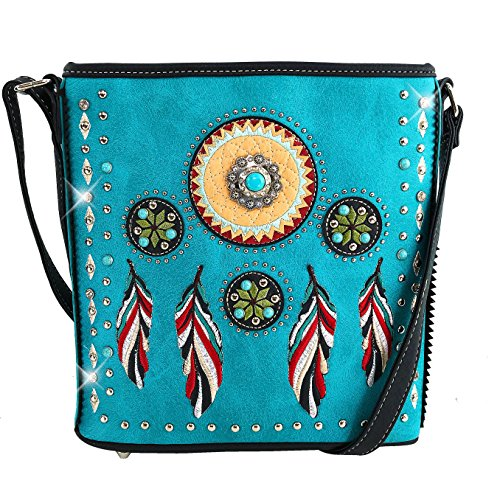 Justin West Tribal Dream Catcher Feather Embroidered Studded CCW Concealed Carry Shoulder Cross Body Handbag Wallet (Turquoise Messenger Bag ONLY)