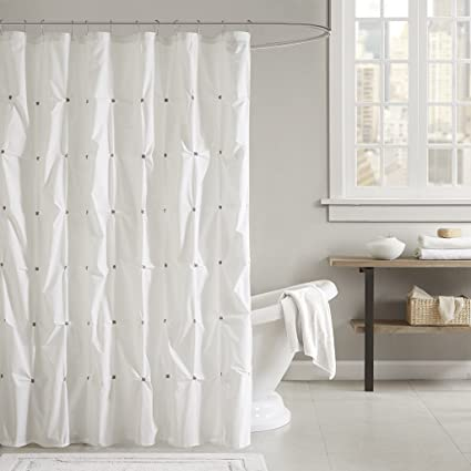 Ink Ivy Masie Cotton Shower Curtain White 72x72