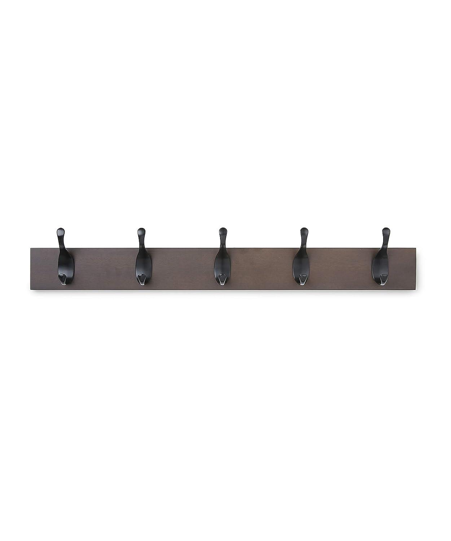 AmazonBasics Wall Mounted Coat Rack, 5 Modern Hooks, Espresso