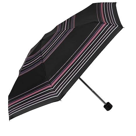 Paraguas Plegable Mujer - Super Mini Paraguas Automatico a Rayas - De Bolso Compacto y Antiviento - 90 cm de diámetro - Perletti Time - Negro