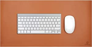 """OFFIDIX Office Desk Mat,Desktop PU Leather Desk Pad Non-Slip Leather Protective Desk Pad Laptop Mat Gaming Writing Mat for Laptop PC Keyboard Office Home (Brown, 24""""x12"""")"""