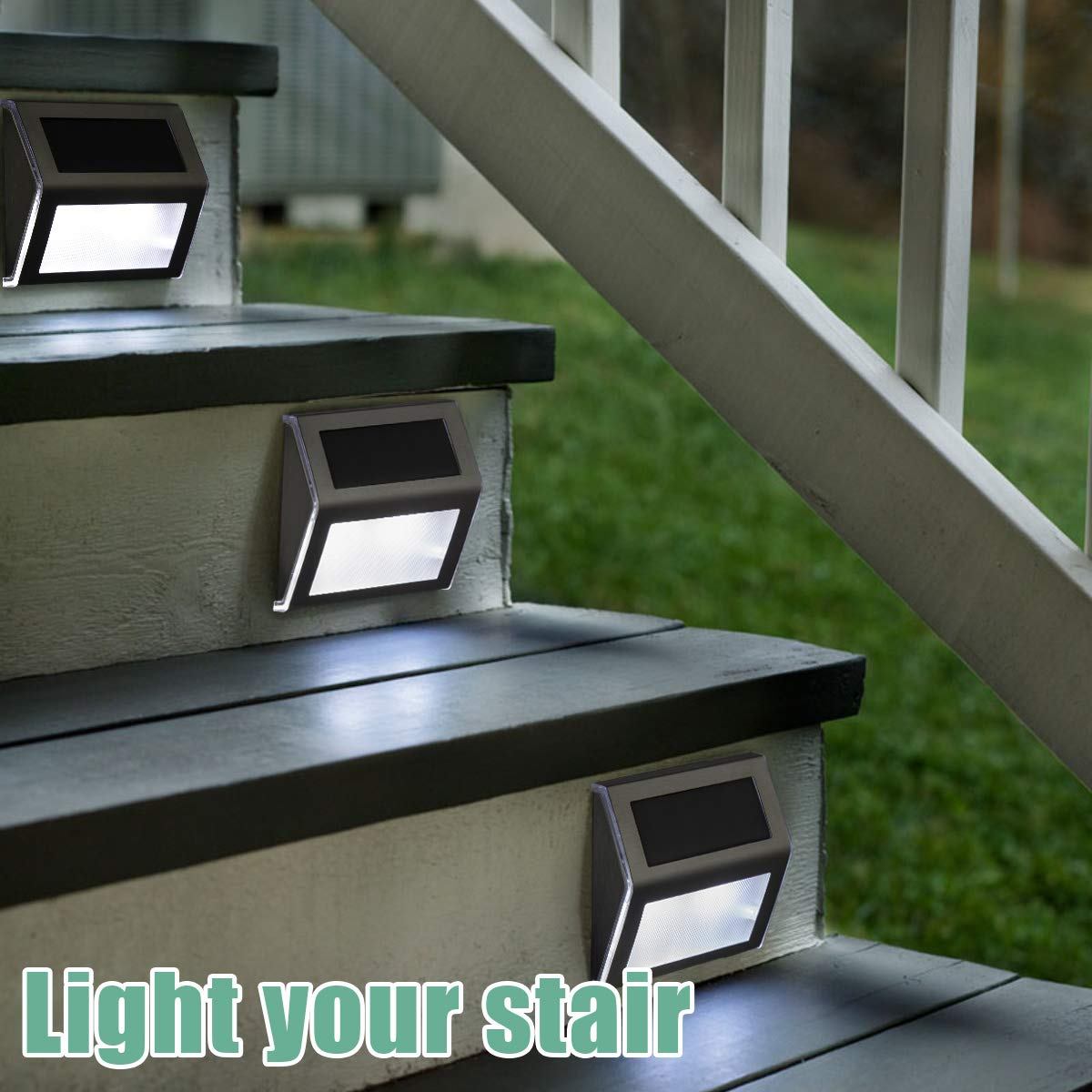 Pathway Yard Stairs Fences. White GIGALUMI 6 Pack Solar Step Deck Lights Stainless Steel Waterproof Led Solar Lamp for Outdoor