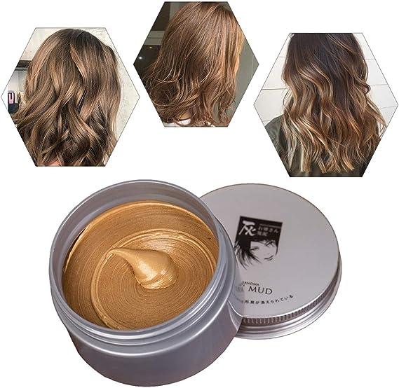 Cera para el cabello unisex cera pelo natural temporal se puede lavar una vez Aplicar a fiesta Cosplay Halloween-marrón