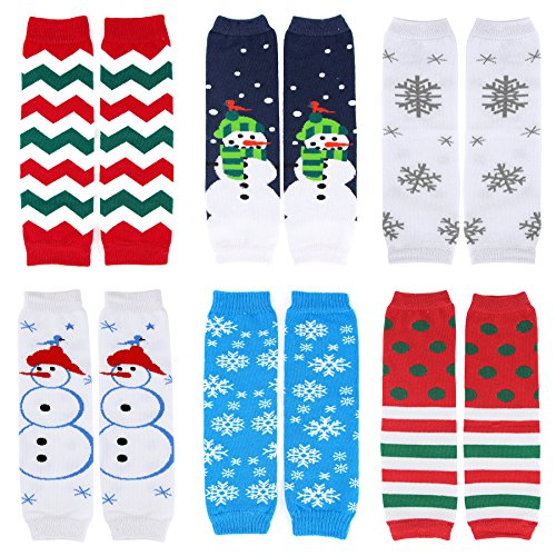 CMK Trendy Kids Set of 6 Unisex Baby & Toddler Leg Warmers Christmas Theme(62888_Christmas - Christmas Trendy
