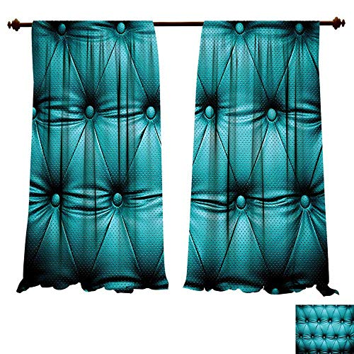 Copper Rustic Headboard - Printed Thermal Insulated Bedroom Blackout Curtains Turquoise Buttoned Couch Sofa Bed Headboard Leather Cover Luxurious Upholstery Art Dark Teal for Bedroom Set (W72 x L84 -Inch 2 Panels)