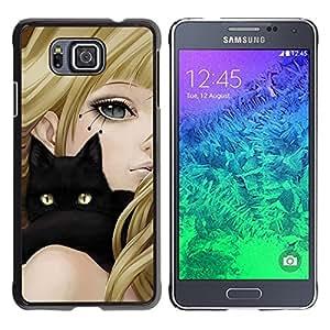 CashCase @ FOR Samsung ALPHA G850 Girl Anime Cat Blonde Black Yellow Eyes Drawing Doble capa de armadura de la cubierta del caso del protector