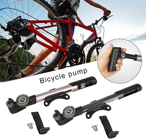 1x Compact Bicycle Bike Pump mountain Mini Inflator Tyre Tire Air Pressure Gauge