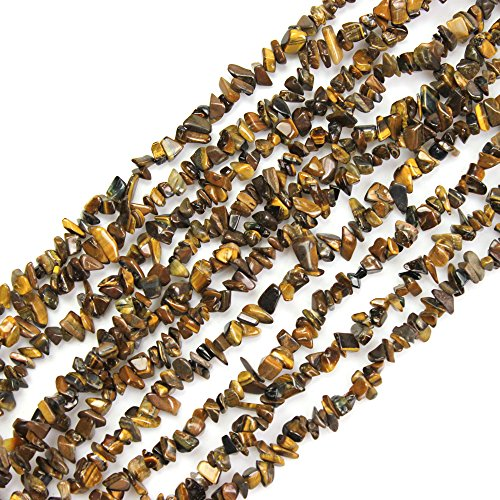 JARTC Natural Irregular Broken Yellow Tiger Eye Stone Chip 6-8mm 34 inch Agate Crystal Chip for Jewelry Making DIY Bracelet Necklace Accessory
