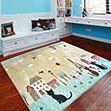 MeMoreCool Cute Cats and Cartoon House Carpet Eiffel Tower Area Rugs Anti-slip Bedroom/Living Room Carpet Baby Crawling Mats Pink/Green Play Mat