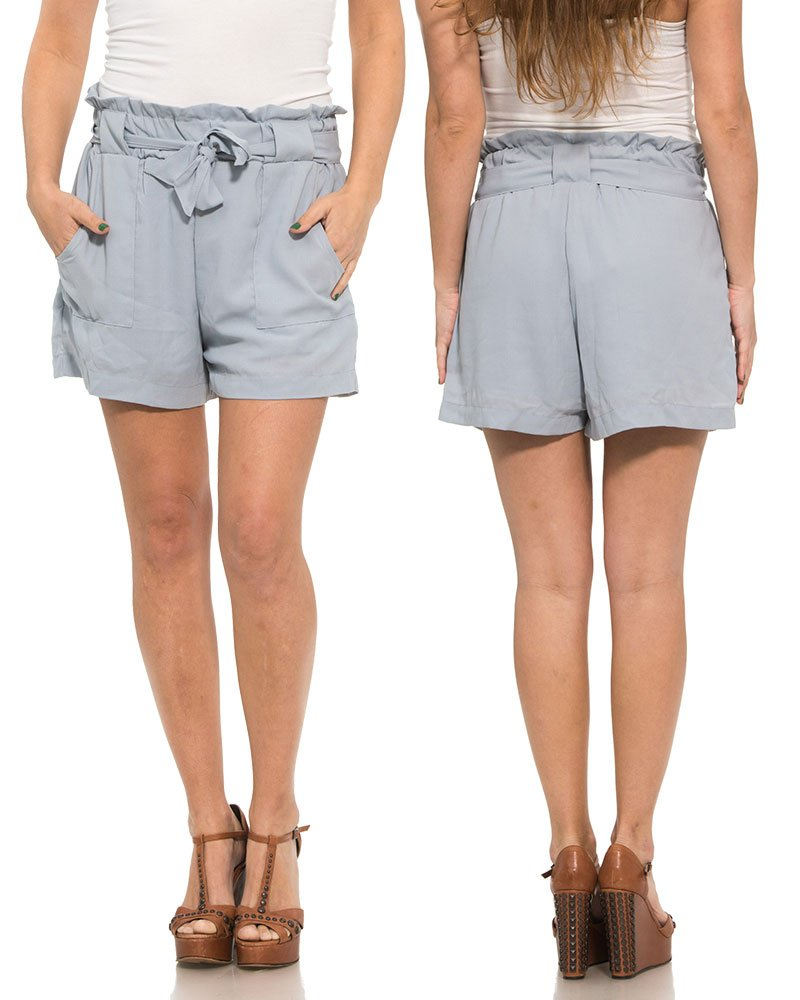 Ladies Solid High Waist Tie On Belted Linen Fashion Shorts (Large, Grey)