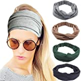 4 Pack Workout Headbands for Women, Stretchy Sport Head Bands for Running Yoga Gym, Wide Twist Fabric Athletic Headwrap…