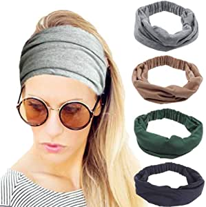 4 Pack Workout Headbands for Women, Stretchy Sport Head Bands for Running Yoga Gym, Wide Twist Fabric Athletic Headwrap for Exercise Fitness