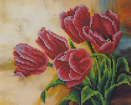 Bead Embroidery kit Spring Tulips Beaded Cross Stitch Needlepoint Handcraft Tapestry ()