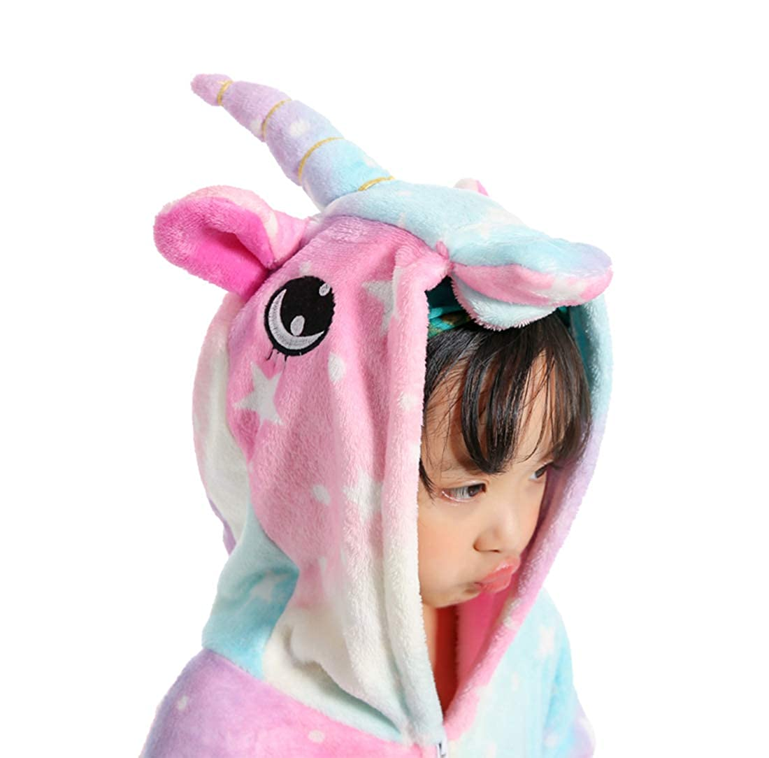 Flannel Kids Unicorn Cartoon Onesie Costume Girls Boys Halloween Cosplay Animal Pajamas Unisex Children One-Piece Sleepwear