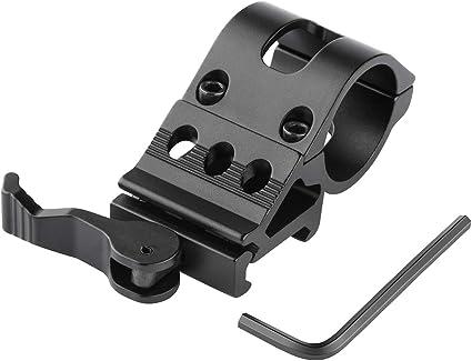 Tactical Offset Weaver Picatinny Rail Flashlight Torch Laser Mount Ring Tool LA