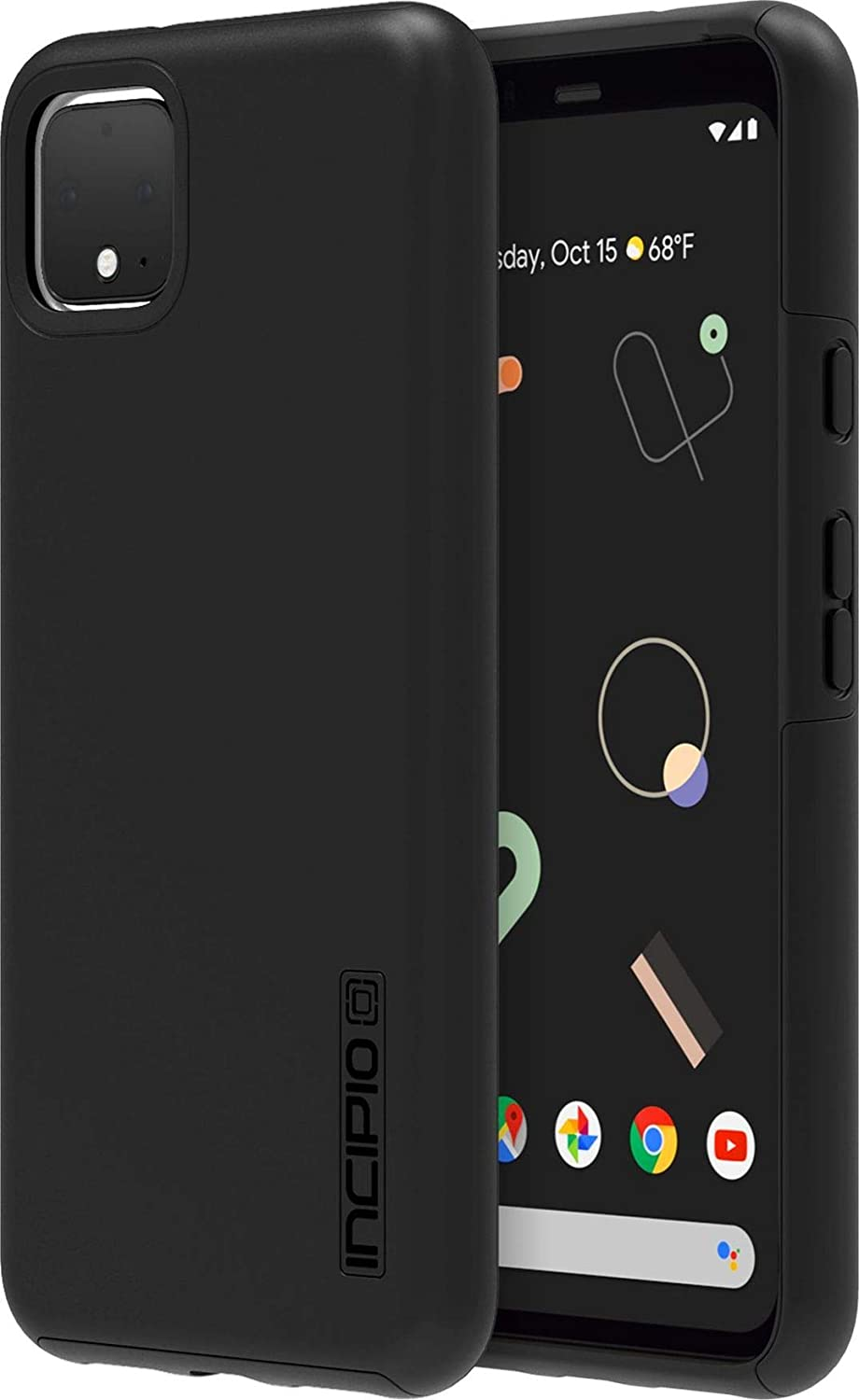 Incipio DualPro Case for Google Pixel 4 XL - Google Certified Protective Cover (Black) [Extremely Rugged I Shock Absorbing I Soft-Touch Coating I Hybrid] - GG-082-BLK