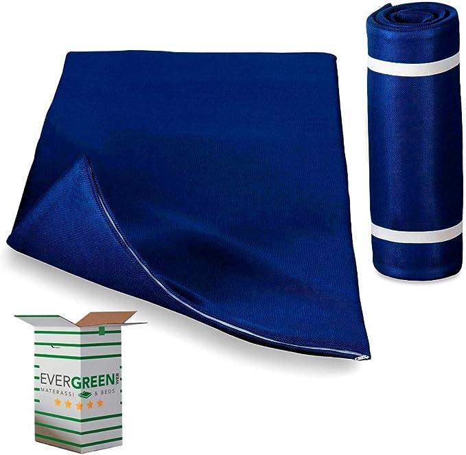 EvergreenWeb - Colchón Matrimonial 160x195 h 3 cm Funda Removible, Colchoneta Plegable, Soporte Ergonómico para Ejercicios de Suelo, Camping, Yoga ...