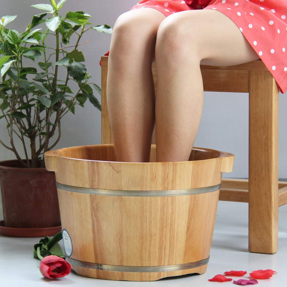 QING MEI-Foot tub, Foam Foot Wooden Barrel, Wooden Wash Basin, Single Side 26CM High with Cover A++ by QING MEI-Foot tub (Image #3)