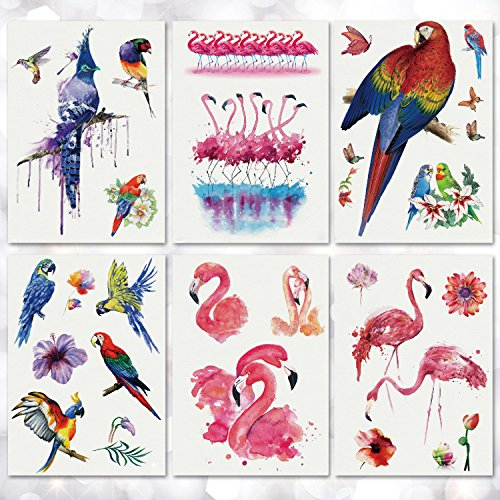 Leoars 6 Sheets Waterproof Large Temporary Tattoo Sticker Flamingo Pattern Tattoos Water Transfer Paper Body Art Fake Tattoo for Women Men Teens