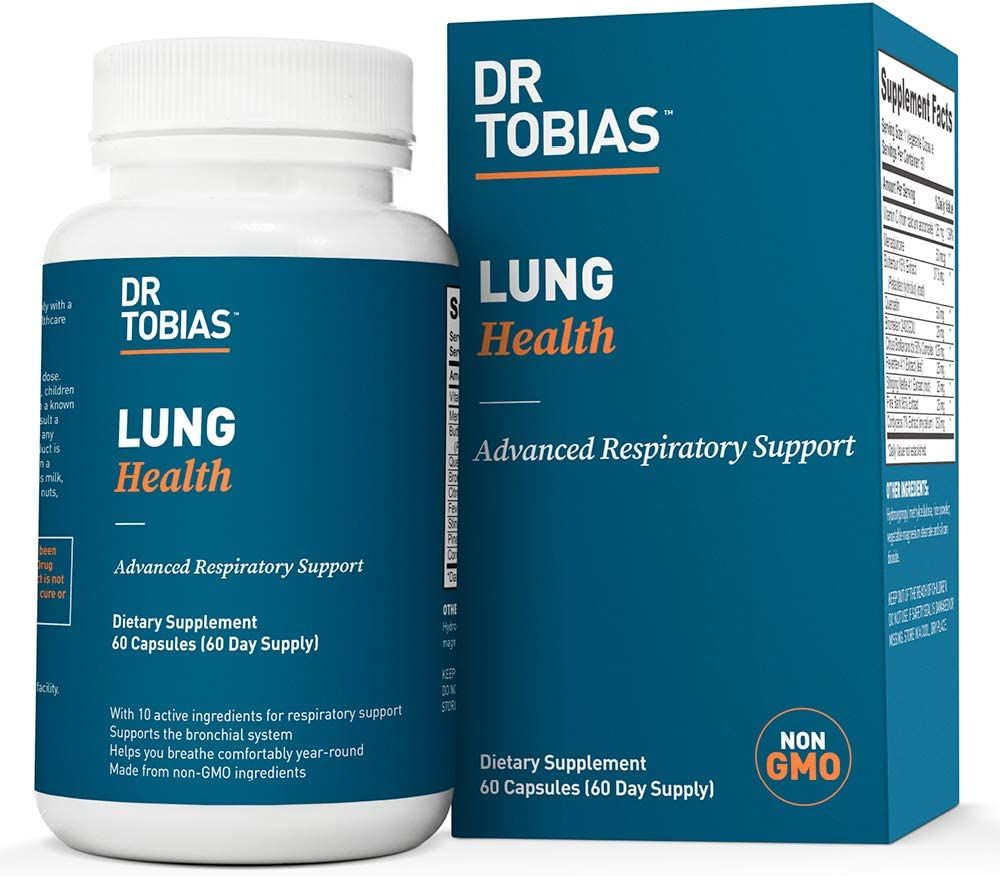 Dr Tobias Lung Health - Lung Cleanse & Detox for Respiratory Support (60 Count): Health & Personal Care