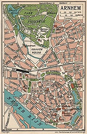 ARNHEM Vintage town city map plan Netherlands 1933 old antique