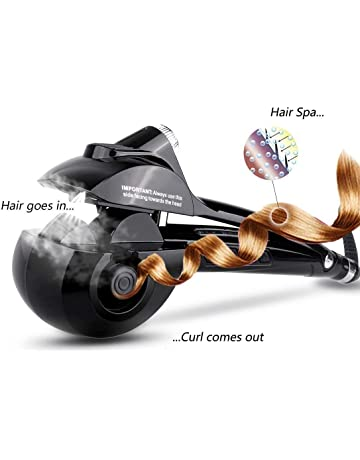 Beautigo Pinzas Rizador automático de vapor con calentador cerámico y pantalla digital LED (Negro)