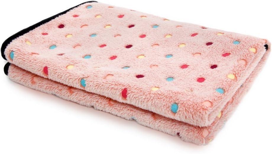 PAWZ Road Pet Dog Manta Fluffy Fleece Fabric Suave y Linda Warm Dot Print Manta Lavable para Gatos y Perros Rosa 53 * 77cm