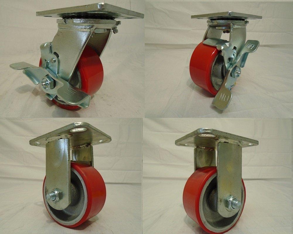 4'' X 2'' Swivel Caster Heavy Duty Polyurethane Wheel on Steel Hub with Brake(2) and Rigid (2) 700lb Ea Tool Box