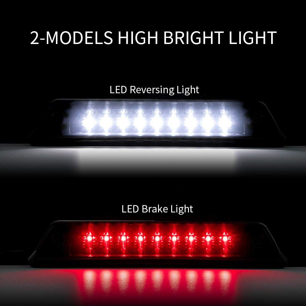 Waterproof LED 3rd Brake Lights Assembly for 2009//2010//2011//2012//2013//2014 Ford F150 and F150 Raptor High Mount Reverse Stop Lamps Cargo Tail Light,Smoke Lens