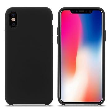 Funda iPhone XS MAX, Carcasa Silicona iPhone XS MAX, Líquido Silicona Gel Caucho A Prueba de Golpes con Suave Almohadilla de Forro de Tela de ...