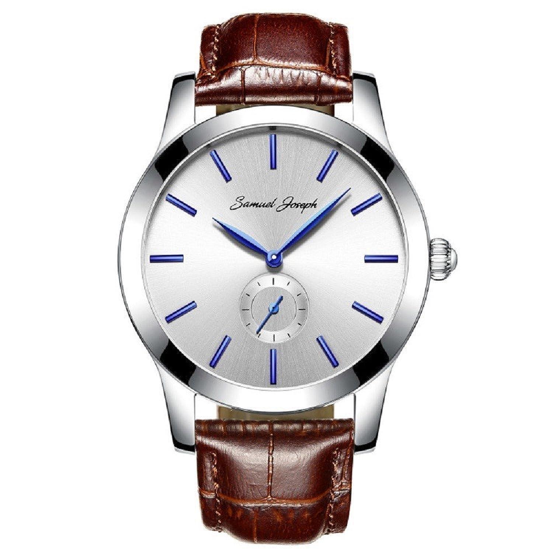 Samuel Joseph Bespoke Herren 43 mm Armbanduhr – Master verarbeitet mit weißem Zifferblatt - Stahl Fall - und Braun