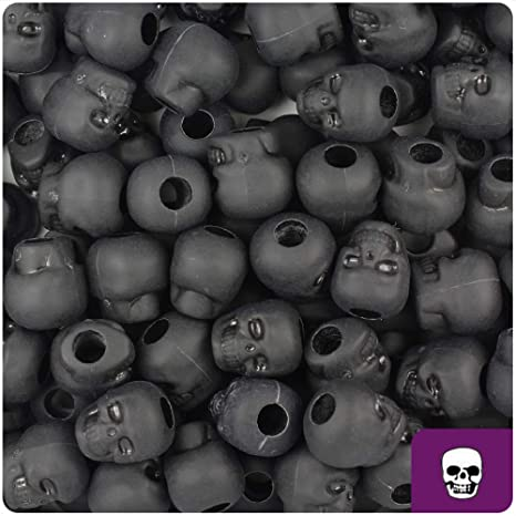 BeadTin - Cuentas de calavera, color negro mate, 11 mm, 150 ...