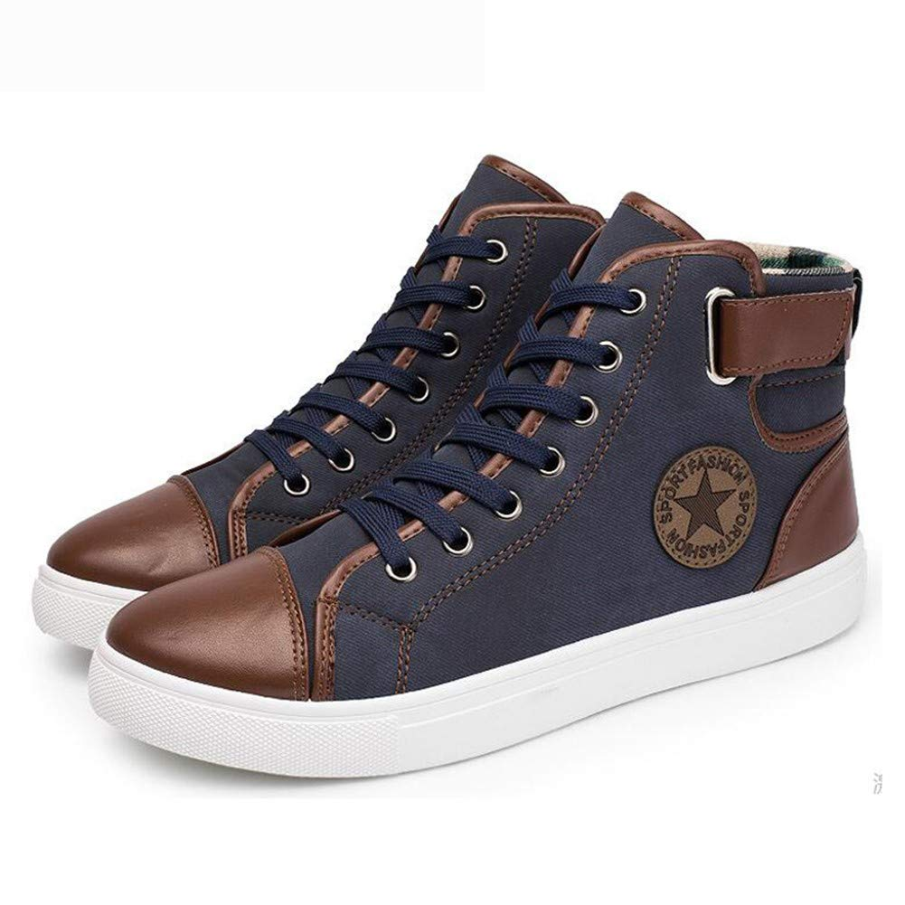 LMHXDXY Casual High Top Canvas Canvas Canvas Hombre Nuevo Arrivano Zapatos causali Degli Hombre Autunno Inverno Anteriore Up Stivaletti en la Piel Zapatos Hombre, 43 9492d4